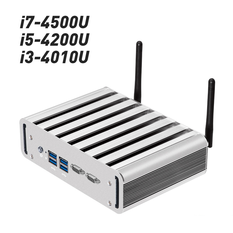 Mini PC Intel Core i3 4010U i5 4200U i7 4500U CPU 2x 1000Mbps LAN 2x RS232 Fanless Compact Desktop PC HDMI WIFI Windows 10 Linux