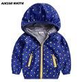 Jaqueta de inverno quente para os meninos 2017 primavera outono casaco de zíper impermeável lining algodão à prova de vento ao ar livre jaqueta de bolinhas