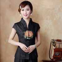 Classy Black National Chinese Embroidery Women Shirt Vintage Satin Blouse Summer Flower Costume Size S M