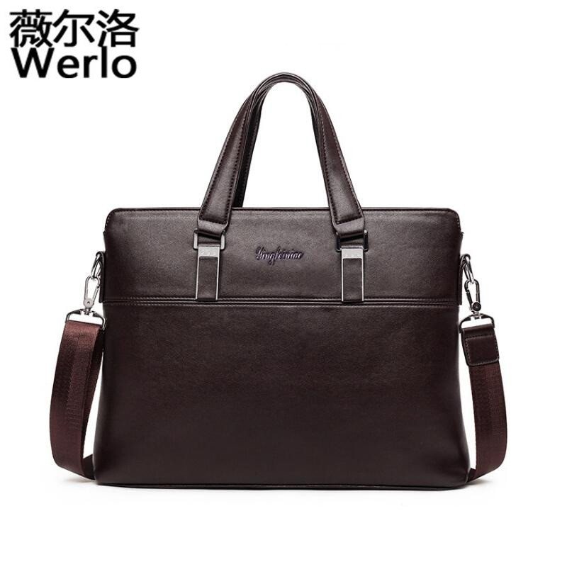 WERLO New Genuine Leather bag Business Men bags Laptop Tote Briefcases Crossbody Bags Shoulder Handbag Men's Messenger Bag SJ118 men s messenger bag genuine leather bag business men bags laptop tote briefcases crossbody bags shoulder handbag