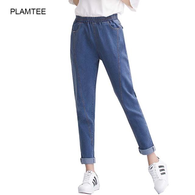 Sólido Señoras Delgadas Pantalones Vaqueros Elásticos de la Alta Cintura de Las Mujeres Harem del Dril de algodón pantalones con Bolsillo Otoño Elegantes Pantalones Vaqueros Femeninos Más El Tamaño de Mezclilla pantalones