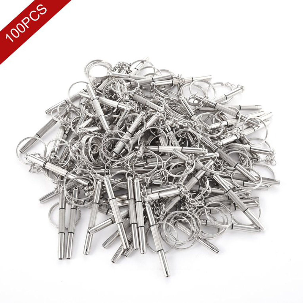 High Quality 100pcs 3 in 1 Eyeglass Screwdriver Glasses Watch Repair Tool Kit with Keychain Ring
