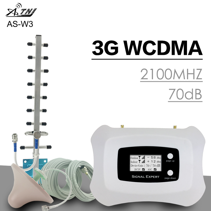 Повторитель сигналов ATNJ WCDMA 2100Mhz Повысьте 3G-сеть 3G Talk Voice ЖК дисплей Покрытие 300 Sqm Сотовый телефон Антенна усилителя сигнала
