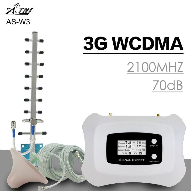 ATNJ WCDMA 2100 Mhz répéteur de Signal Boost 3G réseau 3G parler voix LCD couverture d'affichage 300 m² antenne de Booster de Signal de téléphone portable