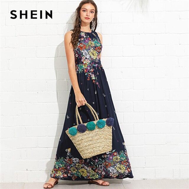 bd945f6c362e8 SHEIN Multicolor Vacation Boho Bohemian Beach Knot Back Ruffle Trim  Botanical High Waist Maxi Dress Summer Women Casual Dresses