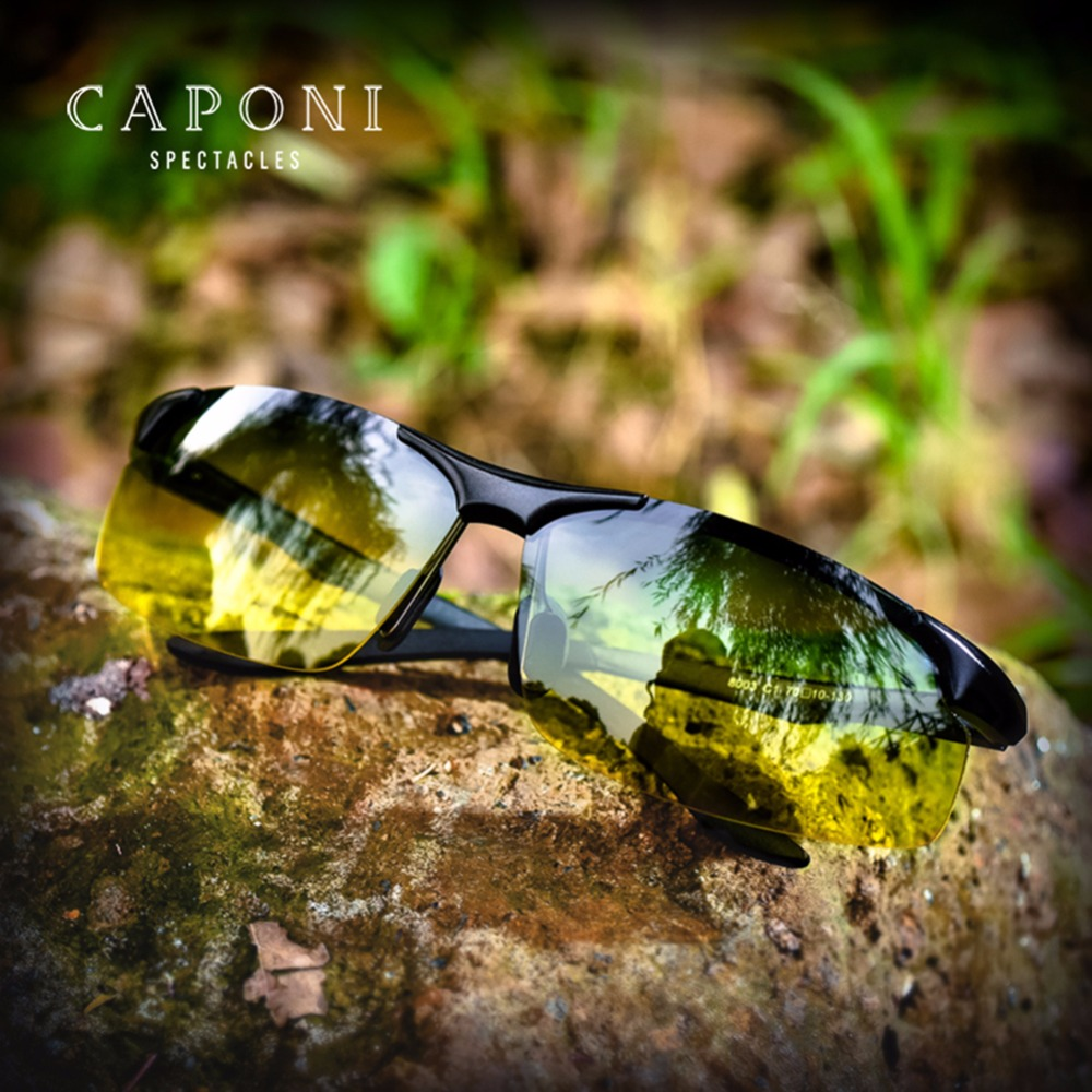 Caponi Rimless Polarized Men Sunglasses Day And Night Driving Fashion Gradient Lenses Multi-uses Sun Glasses RY8033
