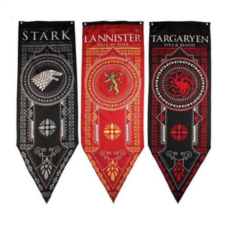 Game of Thrones Tournament Banners Set of 4 House Stark, Targaryen, Lannister & Night Watch Flag Bolton Cosplay Flag Model Toys