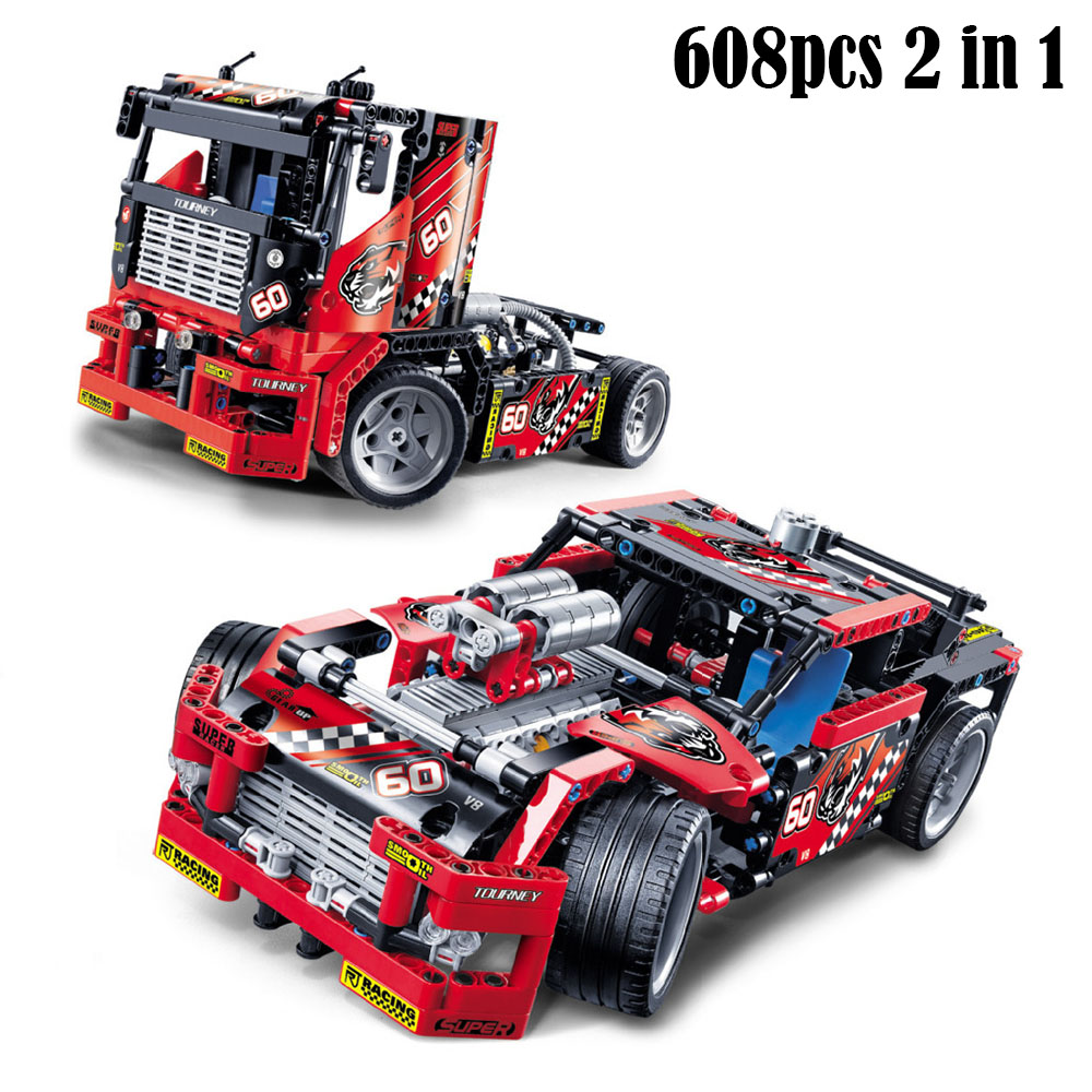 608pcs Decool race truck 2 In 1 Transformable Model Building Block Sets Self-locking Bricks Compatible With Technic 42041 peter block stewardship choosing service over self interest