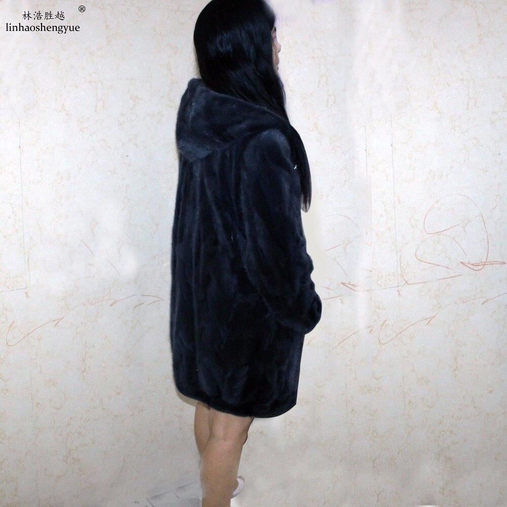 Capuche Gray Fourrure Vison Mode De Réel Manteau Linhaoshengyue Avec Chaud black D'hiver Femmes wqOf6wA