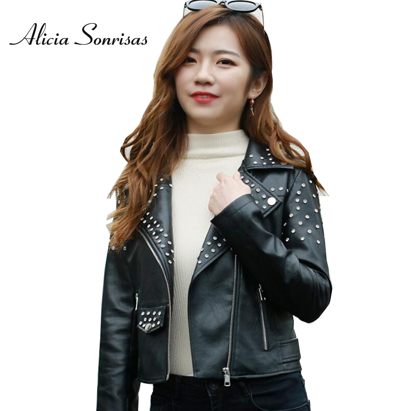 2018 Spring Leather Jacket Women Punk Studded Slim Black Motorcycle With Rivets Washed PU Leather Coats L18BD294