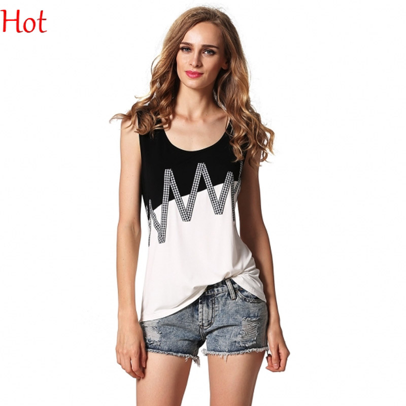 e61bc254195a6 النساء الدبابات خليط موجة الطباعة أزياء عارضة يا الرقبة أكمام القميص الأسود  الأبيض التباين اللون تمتد تانك القمم كاميس