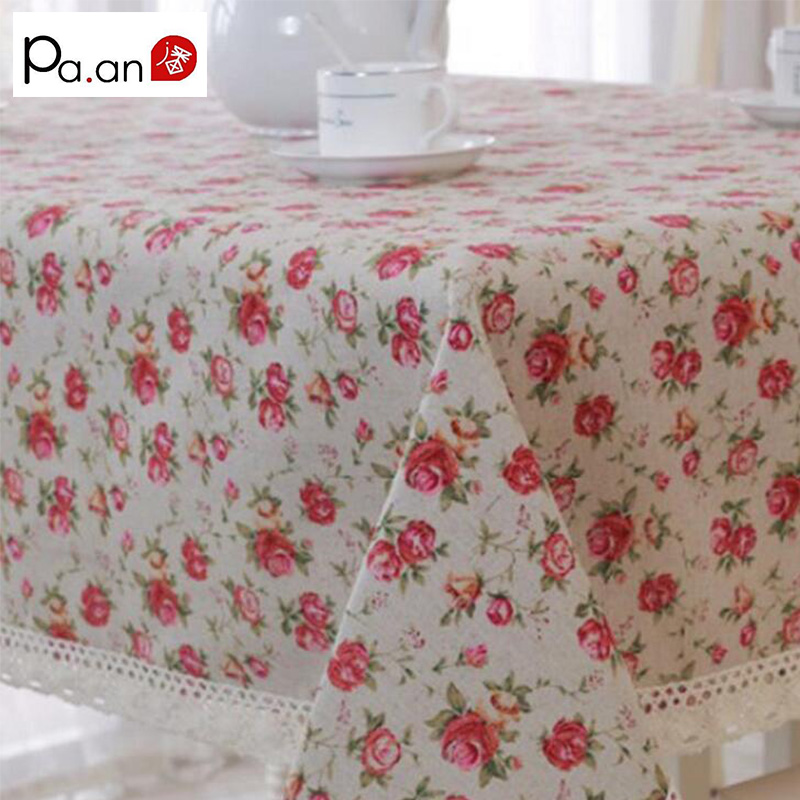 Romantic Linen Cotton Tablecloth Rose Floral Printed Rectangular - Home Textile