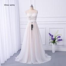 vinca sunny Bohemian Wedding Dresses French Lace sleeveless Boho Beach Wedding Dress zippe Back Bridal Gowns vestido de noiva