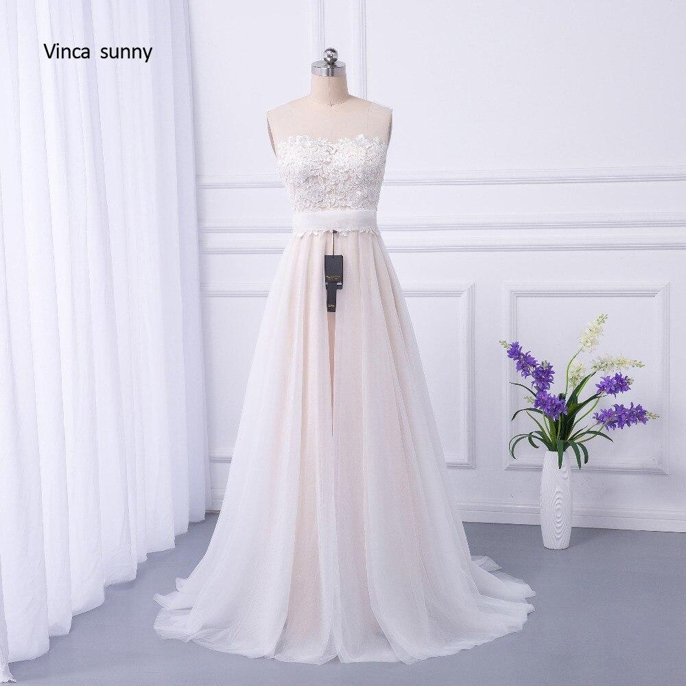 vinca sunny trouwjurk boho A Line Bohemian Wedding Dresses Lace sleeveless zipper Back Bridal Gowns vestido