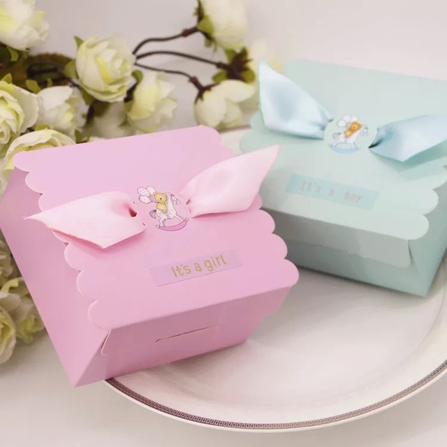12PC Cute Baby Shower Favor Boxes Baby Shower Gift Bags Candy Boxes Party Favor  Box Pregnancy
