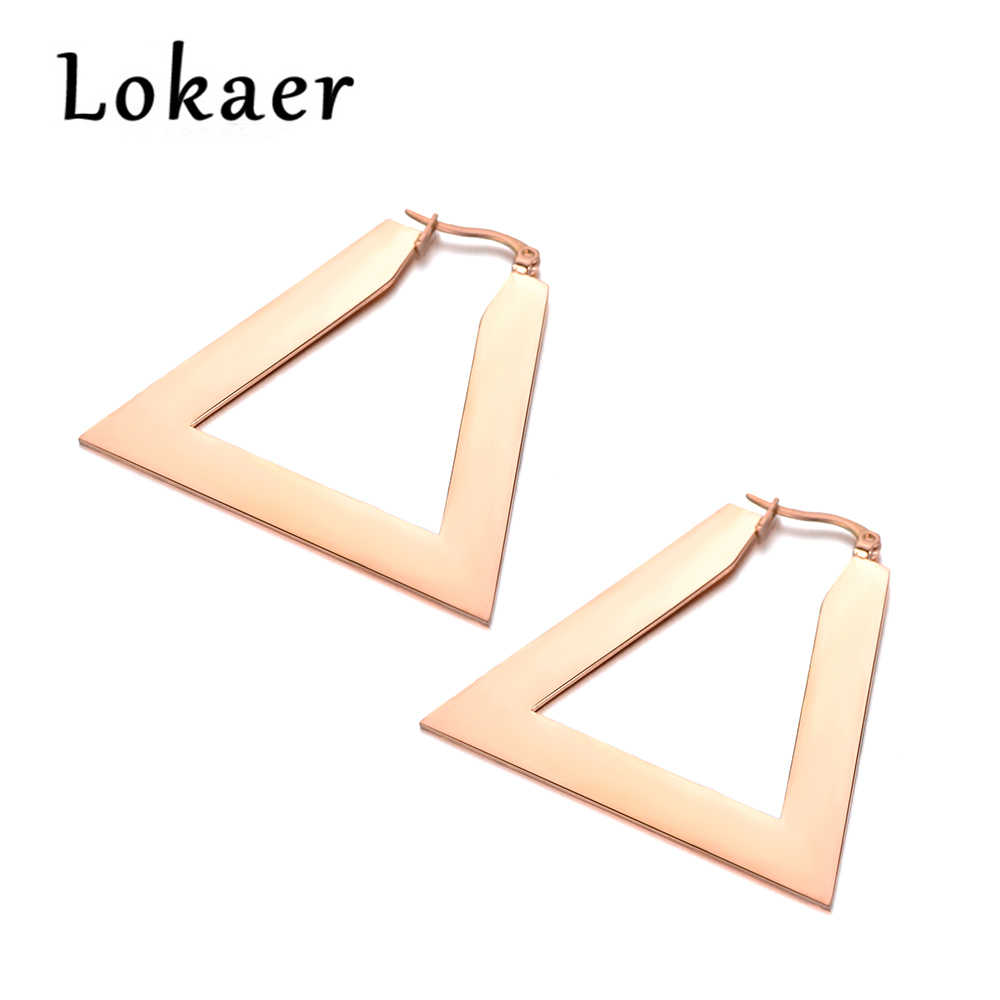 Lokaer Triangular Trapezoid Pendientes Mujer Moda Stainless Steel Rose Gold Color Earrings Punk Style E18066