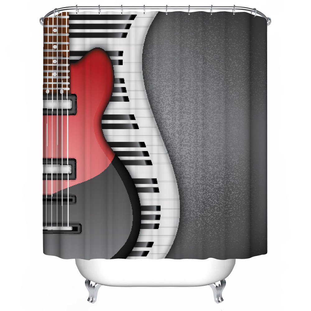 New Polyester 3D Shower Curtain Cartoon Music Guitar Printing Waterproof  Thickening Bathroom Custom Size + 12