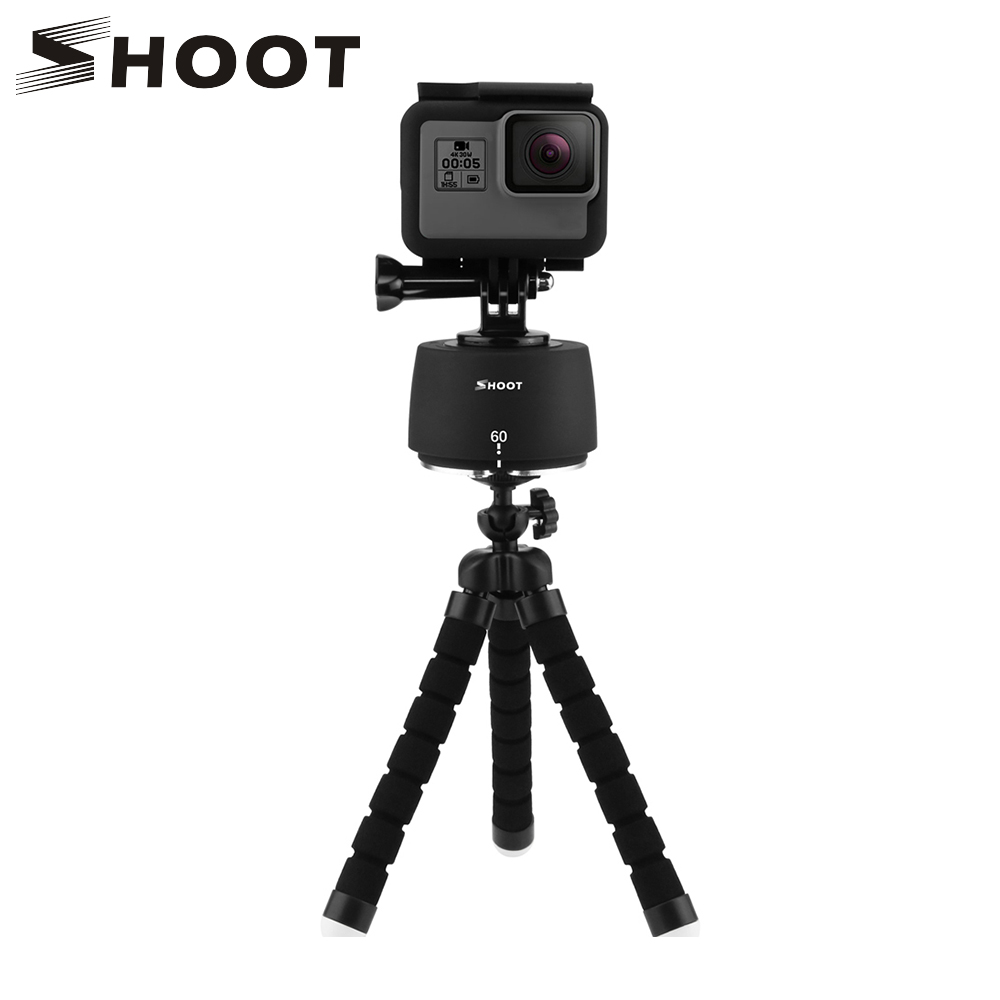 SHOOT 360 Degrees Rotating Panning Ball Head Time Lapse Auto Rotate Tripod Head Base For GoPro Yi 4k Action Camera Mobile Phone