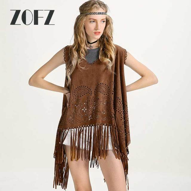 Hollow Out Faux Suede Leather Poncho Pullover Autumn Tassel Hem Batwing Cloak Jacket Coat Loose Coffee Shawl Cloak ZO16BX01