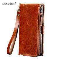 Voor LG V30 Fabrieken Aanpassen multifunctionele Echt Rundleer Case Voor LG V30 Luxe Flip Mobiele Telefoon Bag