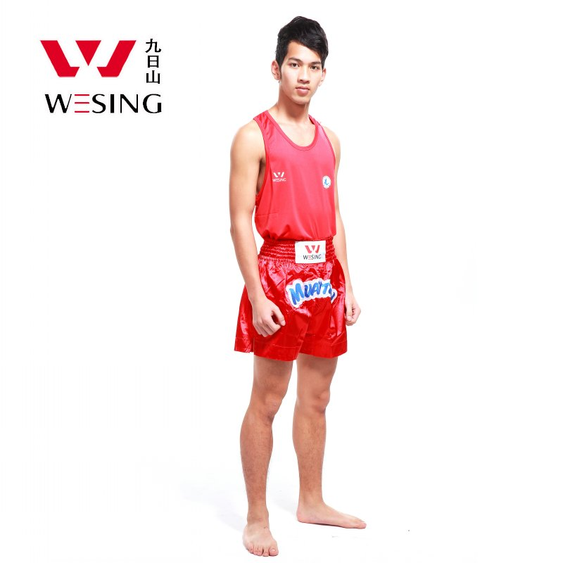 Wesing Professional Muay Thai Suits T-shirt Shorts Muay Thai Boxing Uniform MMA Training Competition Clothes Large Size