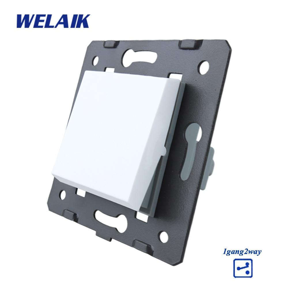 Welaik Кнопка 1Gang2Way переключатель Комплектующие для самостоятельной сборки производитель стене выключатель белый кристалл Стекло Панель AC 110-250 В a712W