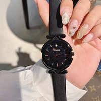 Thương Hiệu sang trọng Siêu Mát Màu Đen Phụ Nữ Đồng Hồ Nữ Da Dây Đeo Ăn Mặc Đồng Hồ Nữ Quan Hệ Nhân Quả Xem Phụ Nữ Đầy Sao Mặt Đồng Hồ reloj