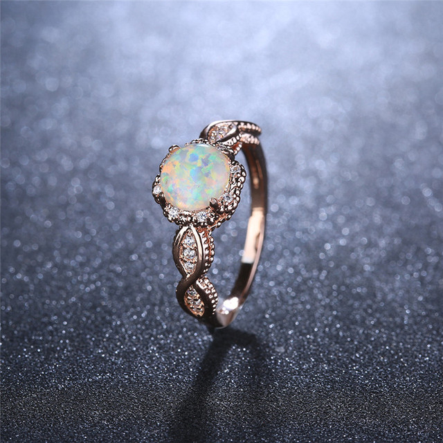 BOAKO Elegant Rainbow Opal Ring Fashion White CZ Wedding Jewelry Rose Gold Filled Engagement Promise Rings for Women anillos 4