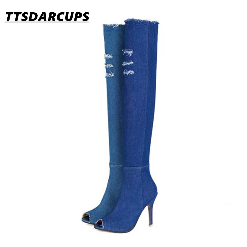 New European and American Fish mouth Fine with thigh boots Star same style Elastic force Cowboy boots Big 35-41 female