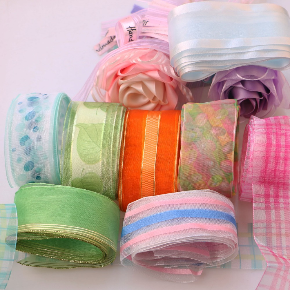 5Yard/Rolls 4CM Pretty Silk Organza Double Face Transparent Ribbon For Wedding Party Decoration Crafts Gift Packing Belt