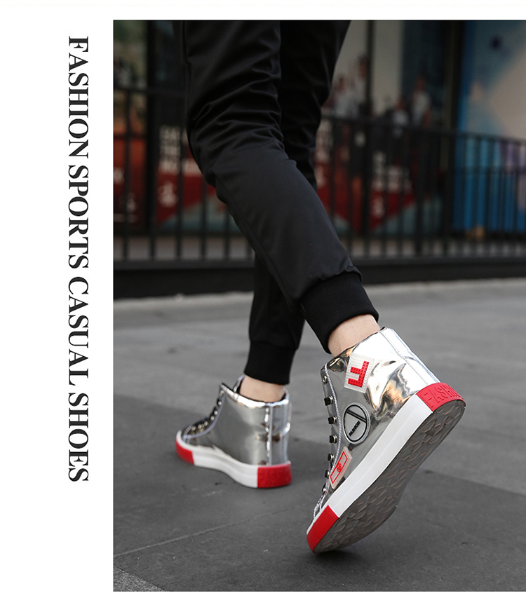 2018 Men leather casual shoes hip hop Gold fashion sneakers silver microfiber high tops Male Vulcanized shoes sizes 46 4