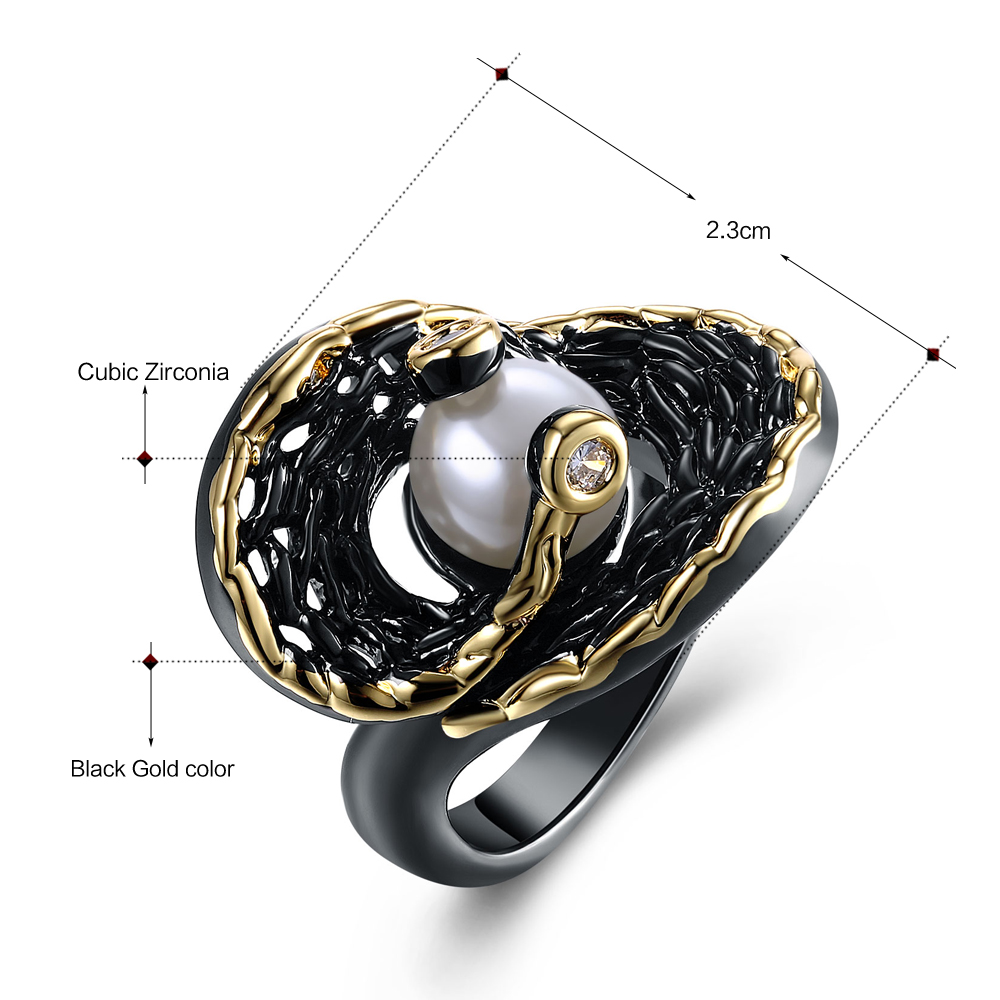 Dreamcarnival 1989 Hip Hop Created White Pearl Ring for Women Black Gold Color Zircon Deluxe Jewelry Vintage anillos mujer Perla in Rings from Jewelry Accessories