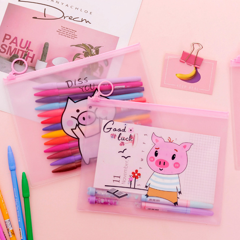 Creative Pink Piglet Girl Heart Finger Ring Zipper Transparent PVC A5 File Folder Document Filing Bag Stationery Bag