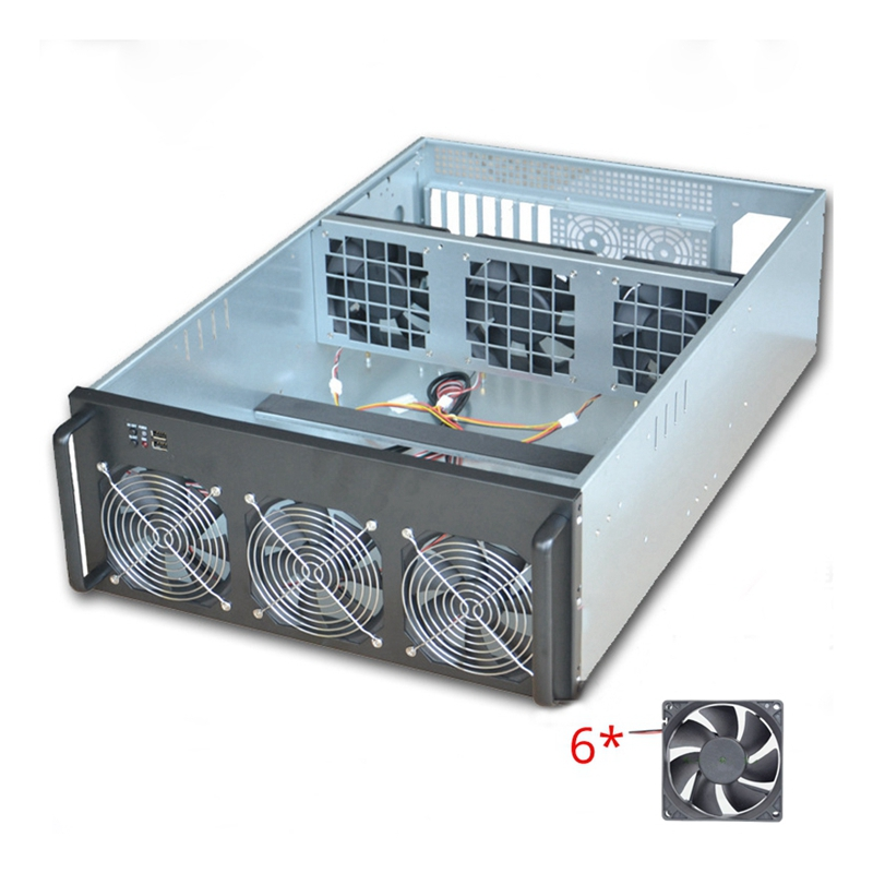 6 ventilateurs boîtier minier cadre crypto pièce btc ethereum mineur USB 6-8 gpu châssis aluminium sever support GTX 1080TI 1070 P106