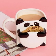 3d 만화 팬더 커피 머그잔 더블 비스킷 세라믹 티 컵 크리 에이 티브 마크 drinkware 크리스마스 선물