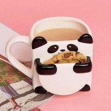 Tazas de café de dibujos animados de panda en 3D, doble galleta, tazas de té de cerámica, marca creativa, regalos de navidad