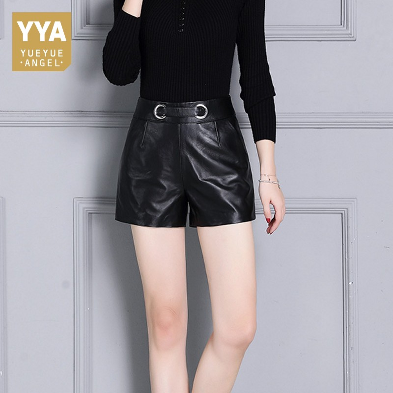 Wide Leg Women Black Shorts Casual Fashion Real Leather High Waist Office Ladies Soft Trousers Sheepskin Straight Pantalon Woman
