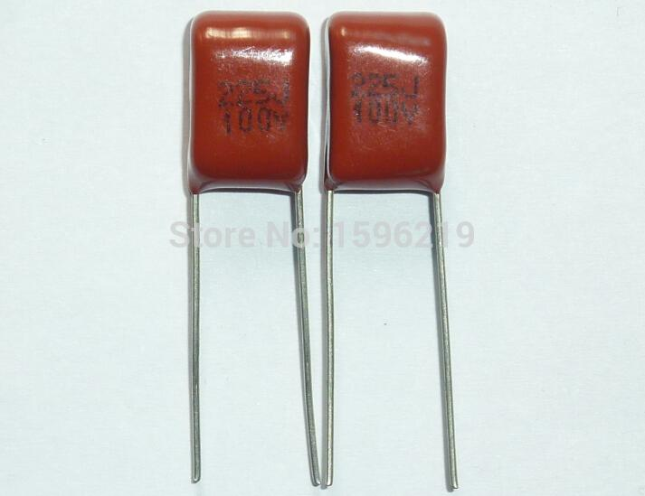 10pcs CBB Capacitor 225 100V 225J 2.2uF 2200nF P7.5 CL21 Metallized Polypropylene Film Capacitor