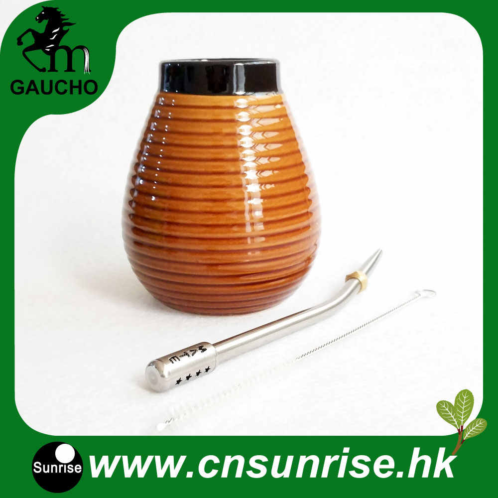 1 Sets/Lot Delicate Argentina Yerba Mate Gourds Sets Ceramic Calabash With Stainless Straw Bombilla And Cleaning brush Hot Sale