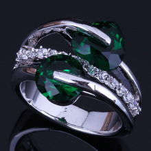 Magic Heart Shaped Round Green Cubic Zirconia White CZ 925 Sterling Silver Ring For Women V0467 925 sterling silver dragon claw round green cz eye mens biker skull ring 9m202a
