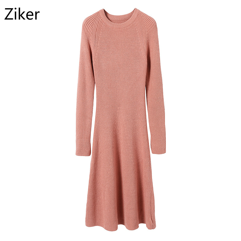 Autumn Winter Women Sweater Dresses New Fashion Solid Slim A-Line Knitted Dress O-Neck Flare Sleeve Casual A-Line Knitting Dress cable knit a line sweater dress