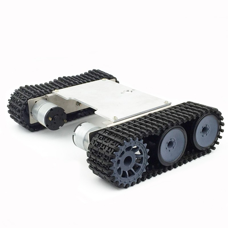 Aluminum Alloy Robot Chassis Tank RC Smart Car With Nylon Crawler with 33GB-520 DC12V Motor Practical Assemble RC Tank Models aluminum alloy robot chassis tank rc