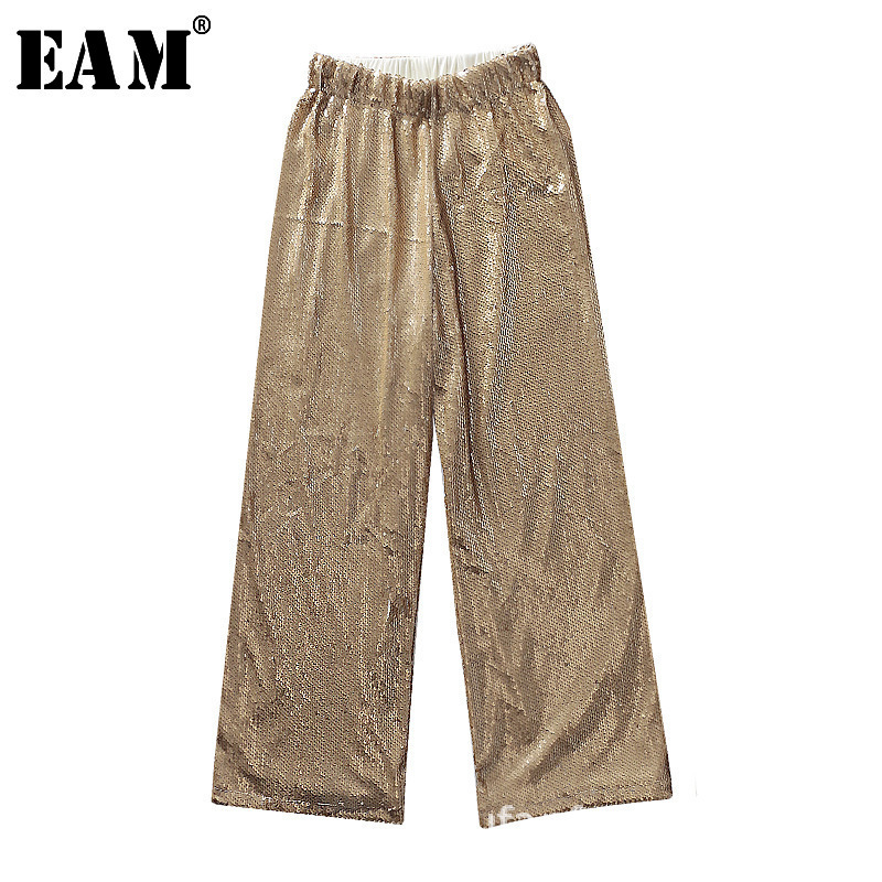 [EAM]2019 New Spring Summer High Elastic Waist  Balck Metal Color Shning Sequins Stitch Loose Pants Women Trousers Fashion JQ777