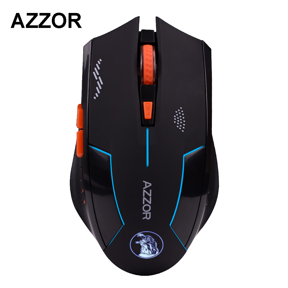 SOLOMO AZZOR Rechargeable Wireless Mouse Slient Button Computer Gaming 2400DPI Built-in Battery with Charging Cable For PC Laptop