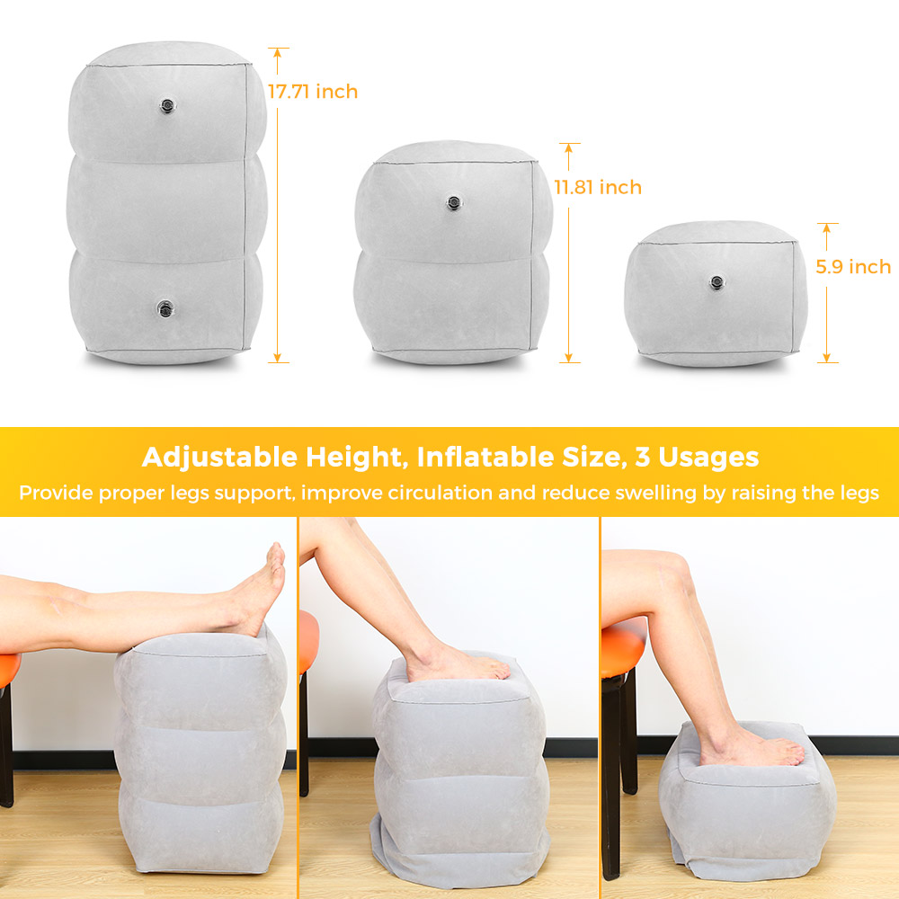 3 Layers Travel Inflatable Foot Rest Pillow Adjustable Height Pillow For Adult Train Cushion Portable Pillow With Storage Bag