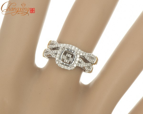 5.5x5.5mm Cushion Natural Diamond Solid 14CT 2 Gold Engagement Ring Wedding Band