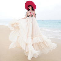 New arrival High quality real silk maxi dress 2016 summer style bohemia beach dress plus size women chiffon vintage vestidos