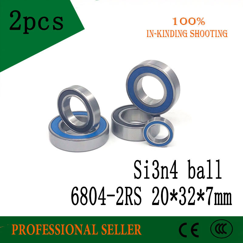 2PCS 6804-2RS Hybrid Ceramic Bearing 20x32x7mm Bicycle Bottom Brackets Spares 6804RS Si3N4 Ball Bearings free shipping 6804 2rs 6804 61804 2rs hybrid ceramic deep groove ball bearing 20x32x7mm