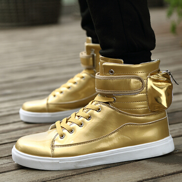 2015 men plus size high top shoes brand luxury gold casual