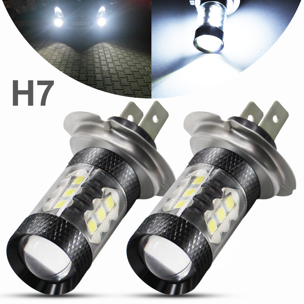2pcs <font><b>H7</b></font> <font><b>LED</b></font> Car Fog <font><b>Lamp</b></font> 80W 16 Chips 3030 SMD <font><b>LED</b></font> Bulbs 6000K White Car Auto Driving Fog Headlight Light <font><b>Lamps</b></font> DC 12V 24V image
